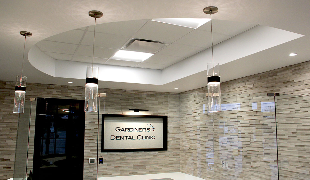 modern lighting and seating area in dental clinic