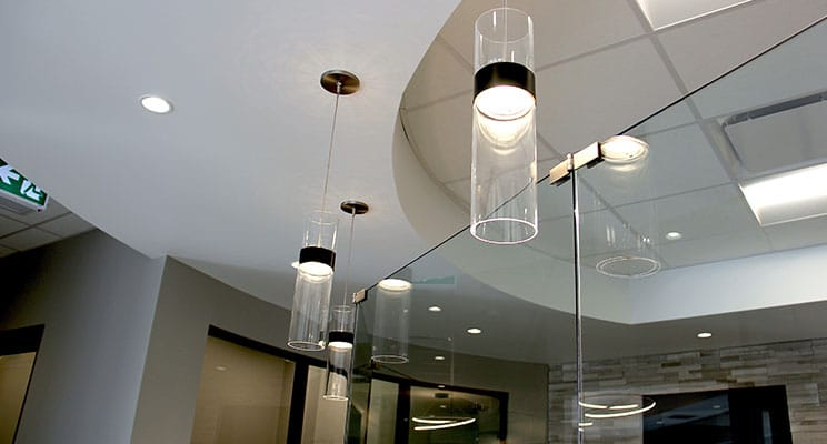 modern lighting and ceiling in dental clinic